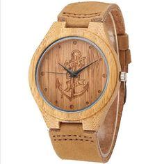 Lost sea Anchor Design Bamboo Luxury Quartz Wooden Wristwatches Genuine Leather Men Women