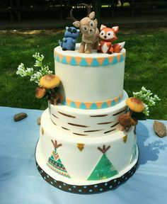 Awesome woodland themed first birthday cake! The toppers are adorable and perfect for a rustic wedding, or baby shower! Check them out here! https://www.etsy.com/listing/232999789/woodland-animals-toppers