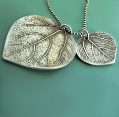 Mother and Child Aspen Leaf Necklace  Large Sterling by esdesigns, $123.00
