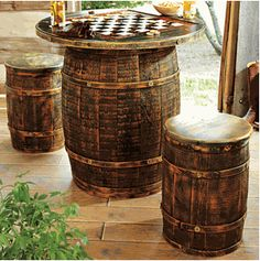 whiskey barrel table & chairs