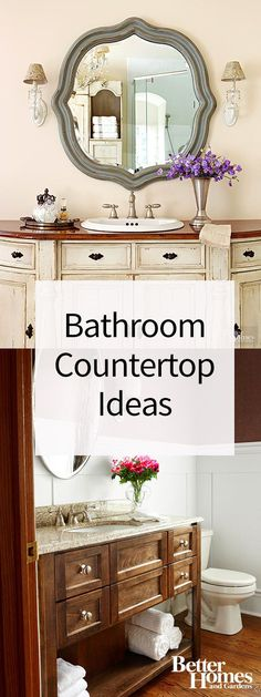 Wood countertops flawlessly finish vanities crafted from vintage furniture or antique cabinetry. This wood countertop makes a style statement (and withstands splashes) due to its medium-tone stain and multiple coats of high-gloss polyurethane.