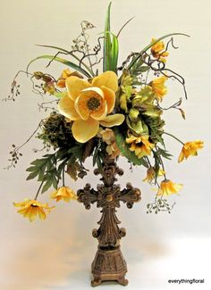 Silk Flower Arrangement Golden Crocus by EverythingFloral on Etsy