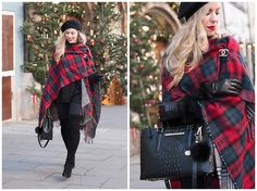 black cashmere beret, red plaid ruana with Chanel gold brooch, Brahmin Small Lincoln satchel black melbourne, UGG Quinn fur cuff gloves, how to wear plaid ruana