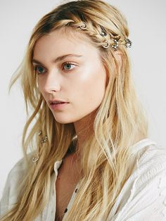 Free People Stone Detail Hair Rings at Free People Clothing Boutique