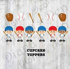 Baseball Cupcake Toppers/Baseball Party/Boy Party/Girl Party/Toppers/Sports Party by DianasDen on Etsy