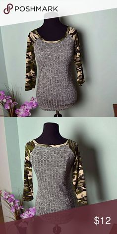 Adorable Grey Top with Camo Sleeves Super Cute and Soft! In excellent condition Tops Tees - Long Sleeve