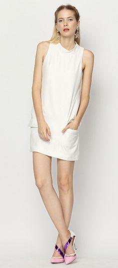 Sleeveless White High Neck Shift Dress With Pocket