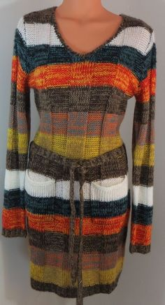 """BOBBIE BROOKS"" COLORFUL BELTED SWEATER DRESS - PLEASE SEE ALL PICTURES #BOBBIEBROOKS"
