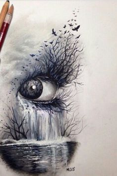 Dark nature, eye # art # sketch of crayons: - Top 99 Pencil Drawings Amazing Drawings, Easy Drawings, Amazing Art, Unique Drawings, Pencil Drawings Of Nature, Dark Art Drawings, Sketches Of Nature, Drawings Of Birds, Drawings Of Eyes