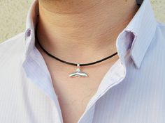 Leather men's necklace. Unisex silver tail pendant and suede cord. For Men, Women. Elegant jewelry.