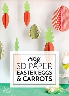 Decorate your Easter buffet table, front windows, mantel or dining room with these easy Easter Eggs made with just paper!