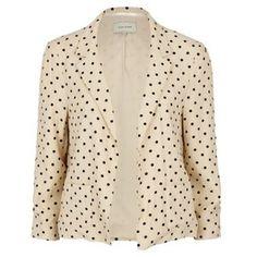 Designer Clothes, Shoes & Bags for Women Cream Jacket, Cream Blazer, Pink Jacket, Blazer Jacket, Polka Dot Blazer, Polka Dots, Pretty Outfits, Pretty Clothes, Colored Blazer