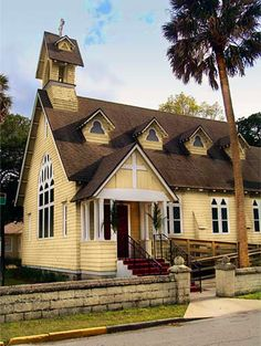 Historic Carpenter Gothic Chapel in St Augustine Florida. This picturesque little chapel is a popular site for weddings.