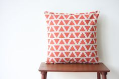 Decorative Pillow Cover Geometric Pattern Coral by BeadandReel Sofa Throw Pillows, Cushions, Church Nursery, Decorative Pillow Covers, Colorful Decor, Cushion Covers, Home Accents, Triangles, Kara