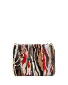V2ZJE Christian Louboutin Triloubi Large Striped Mink Fur Shoulder Bag, Multi