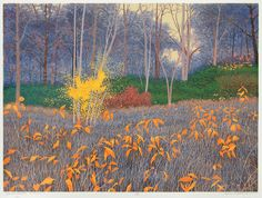 Massachusetts Autumn by Gordon Louis Mortensen - 2006 - color reduction woodcut - 22 inches by 30 inches