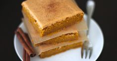Mostly just pinning for the frosting idea. . .  Healthy Maple Pumpkin Blondies with Pumpkin Pie Frosting - DWB