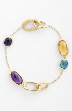 Free shipping and returns on Marco Bicego 'Murano' Station Bracelet at Nordstrom.com. Semiprecious stones, lit with faceted color and nestled within hand-engraved gold bezels, scatter a shiny chain-link bracelet.