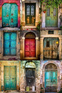Old Door Collection - Chios, Greece Poster - Anna Wacker Cool Doors, Unique Doors, Chios Greece, Architecture Religieuse, Vintage Doors, Painted Doors, Door Knockers, Art Plastique, Doorway
