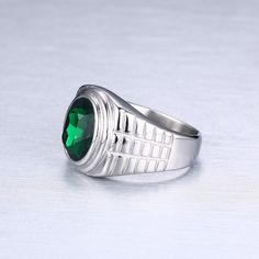 Gold-Color Titanium Ring for Men Quality Red Black Green Crystal Ring Stainless Steel Wedding Band Male Stone Ring