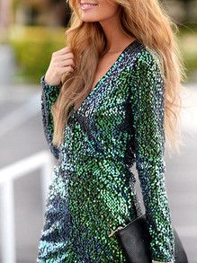 Green Sequins Party Dress Holiday Party Dress. Perfect New Years Dress in gold with sparkles and sequins. Fabric :Fabric has some stretch Season :Fall Pattern Type :Plain Sleeve Length :Long Sleeve Co