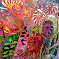A garden full of wild flowers which grow to their hearts' content. All weaving in and out of one another's space and entwined to make a glorious colourfast! Painted on a box canvas with the sides p...