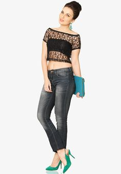 Black Lace Crop Top  at $32.30 (24% OFF)