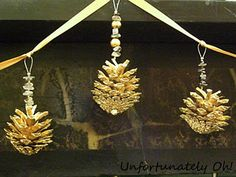 pinecones and beads