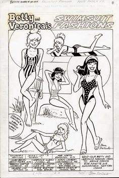 Betty and Veronica, Coloring Page, Archie Comic Publications https://www.pinterest.com/citygirlpideas/archie/