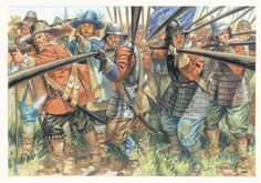 Cromwell-era infantry preparing to receive a cavalry charge.