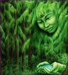 """Gyhldeptis, """"whose name means 'lady hanging hair' is the forest goddess of the Tlinget & Haida people of NWNorth America. To her people she was the mossy hanging branches of cedar. When her people were threatened by a destructive whirlpool, she called on the natural powers of the coast & then synthesized their energies & was able to change the whirlpool into a river"""" from Goddess Oracle by Amy S Marashinsky, art by Hrana Janto"""