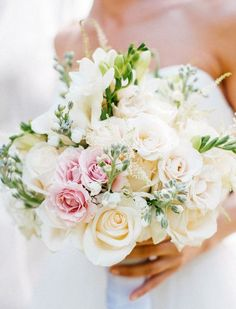 Bridal Bouquet -  medium sized, mostly white with a splash of color