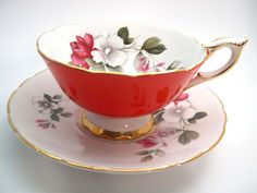 Red Royal Stafford Tea Cup & Saucer, Royal Stafford floral tea cup and saucer, Wide Mouth teacup.. by AntiqueAndCrafts on Etsy