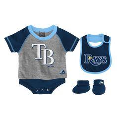 Tampa Bay Rays Majestic Infant Little Player Bodysuit, Bib & Bootie Set - Navy - $22.99