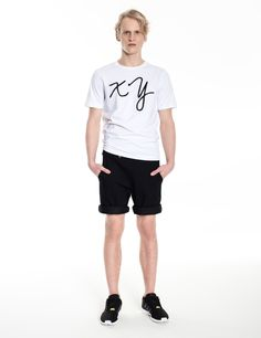 Model is wearing: white XY chromosomes t-shirt & below part of COMBO of dungaree