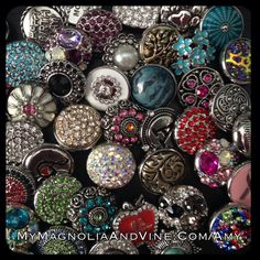 All these snaps come in the Magnolia and Vine starter kit.Design a style that's right for you with Magnolia and Vine customizable, snap jewelry and accessories. Check out my website... www.mymagnoliaandvine.com/3421