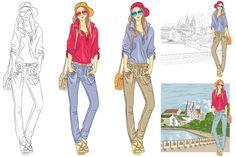 Set beautiful fashion girl by kavalenkava on @creativemarket