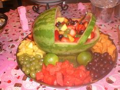 fruit trays for baby shower | The baby carriage fruit tray adds a fun touch to any baby shower.