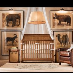 Safari baby nursery.  This is so classy and beautiful.  I may just have to do up a nursery like this for Grandbabies (many years down the line) when the kiddos visit.  When they aren't visiting The room can double as a library/study/office.
