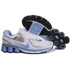 88369eafdc66c Shop Women s Nike Shox Shoes White Light Blue Silver Super Deals black