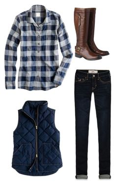 """Plaid Love"" by southernbelle ❤ liked on Polyvore featuring Hollister Co., J.Crew and Phase Eight"