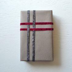 Slate Gray Kraft Wrapping Paper with Glittered Velvet Ribbon