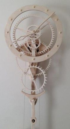 "Wooden clock ""Zentira"" from Paul Layton. Designed by Christopher Blasius. Plans … Wooden clock ""Zentira"" from Paul Layton. Designed by Christopher Blasius. Wooden Clock Plans, Wooden Gear Clock, Wooden Gears, Wood Clocks, Mechanical Clock, Clock Art, Kinetic Art, Wooden Projects, Diy Arts And Crafts"