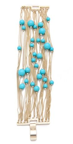 Shop for Runway Multi Strand Bracelet by Juliet & Company at ShopStyle.Pandahall provides craft ideas for making handmade jewelries. You can get the amazing craft idea when you buy the materialsLove the gold and turquoise. Looks like ocean bubbles. Ear Jewelry, Jewelry Crafts, Beaded Jewelry, Jewelry Accessories, Handmade Jewelry, Jewelry Design, Jewelry Making, Jewellery, Strand Bracelet