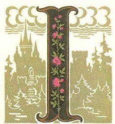 グリム童話:ローズバッド姫 (眠れる森の美女) 装飾文字 Grimm's Fairy Tales:Rosebud / Letters