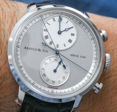 """Arnold and Son CTB Chronograph 'Central True Beat' Watch Hands-On - by Ariel Adams - """"The hand that indicates the seconds for the time """"ticks"""" (even though the watch is purely mechanical) because it is a dead beat (""""True Beat,"""" as Arnold & Son likes to call it) seconds hand. This is carried over from traditional regulator clocks which were highly precise instruments used for regulating other clocks. The central chronograph hand sweeps normally as to most other chronograph hands in 4Hz…"""