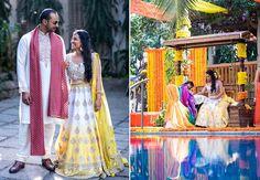 #WeddingSutraP2W A yellow & white lehenga with a mirrored blouse for the mehendi of Aishwarya of WeddingSutra. Photo Courtesy: Ankit and Manan