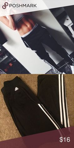 Adidas black Athletic pants Adidas black with white stripes athletic pants. Size medium semi loose fit and straight leg. Polyester material. New without the tags in perfect condition. Adidas Pants Track Pants & Joggers