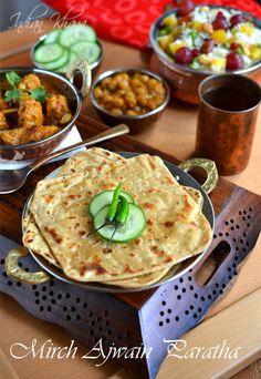 Mirch Ajwain Paratha   Easy Paratha Recipe ~  Spicy twist to usual ajwain (carom seeds) parathas