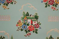 1930s wallpaper SCENIC FLORAL HOUSES ON AQUA